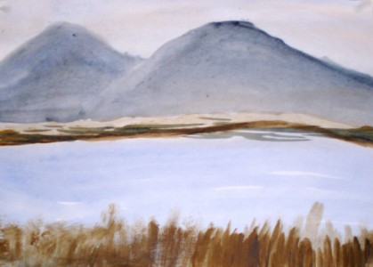 child's painting of lake and hills